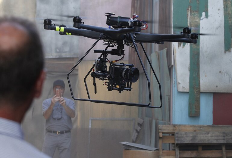 Aerial MOB drone used in TV filming
