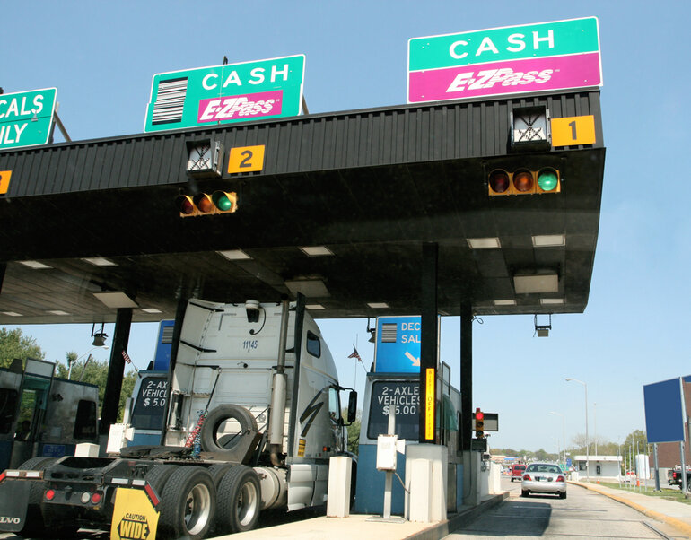 E-ZPass lanes at a toll plaza