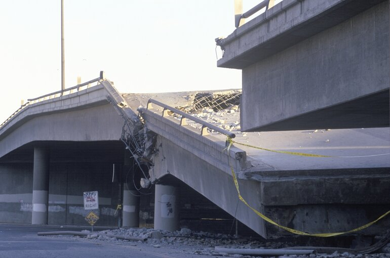 Collapsed overpass in the Northridge-Reseda area at the epicenter of the Northridge earthquake in 1994