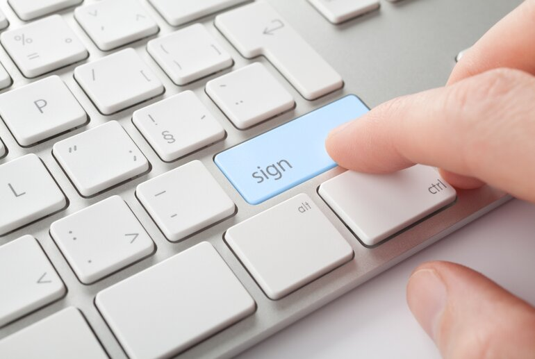 "Keyboard with ""sign"" key to represent electronic signatures"