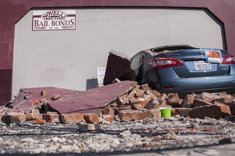 Damage from the earthquake in Napa, Calif., in August 2014