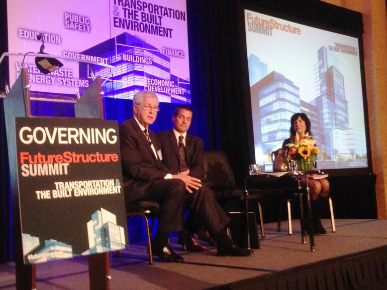 Chattanooga Mayor Ron Littlefield and Wade Crowfoot, Senior Policy Advisor in the California Governor's Office, speaking at the FutureStructure Summit on Transportation and the Built Environment