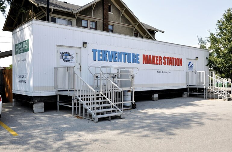 The Tekventure makerstation parked at the Allen County Public LIbrary in Fort Wayne, Ind.