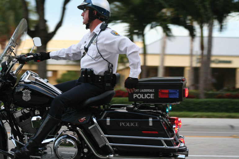 Fort Lauderdale police officer on motorcycle