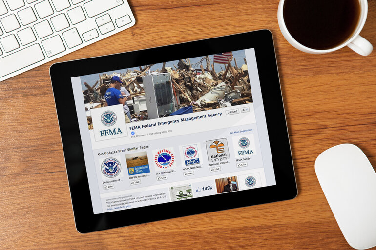 FEMA Facebook page, displayed on a tablet to depict emergency communications