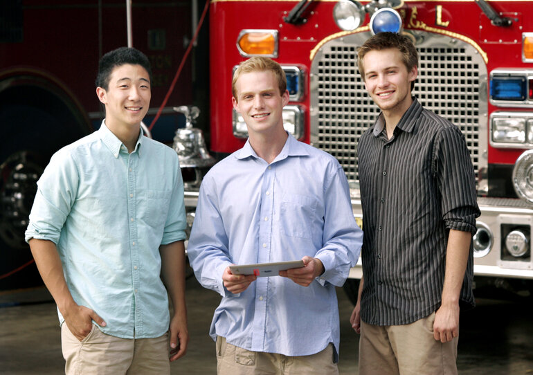 Rising sophomores Eddie Zhou, Charlie Jacobson and James Siderius, are creating FireStop, a mobile database that gives firefighters fast access to critical information.
