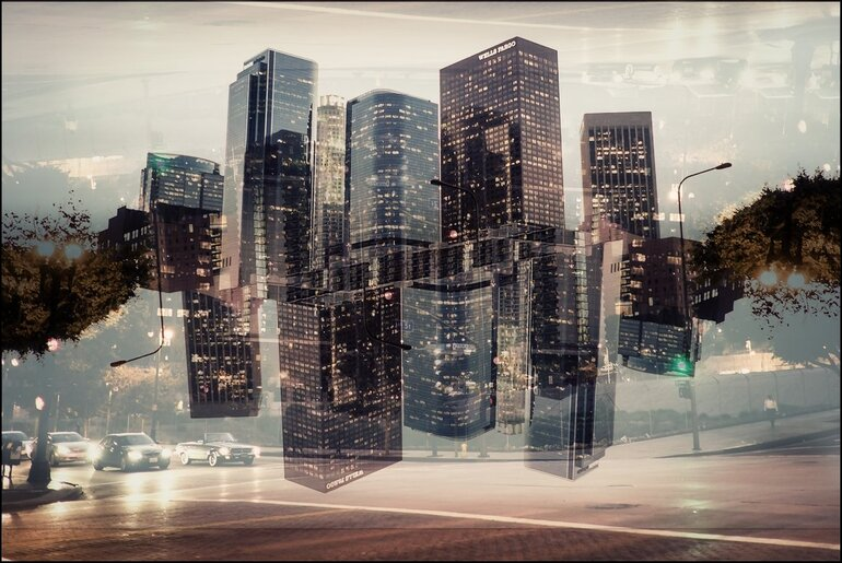 Los Angeles, digital double exposure