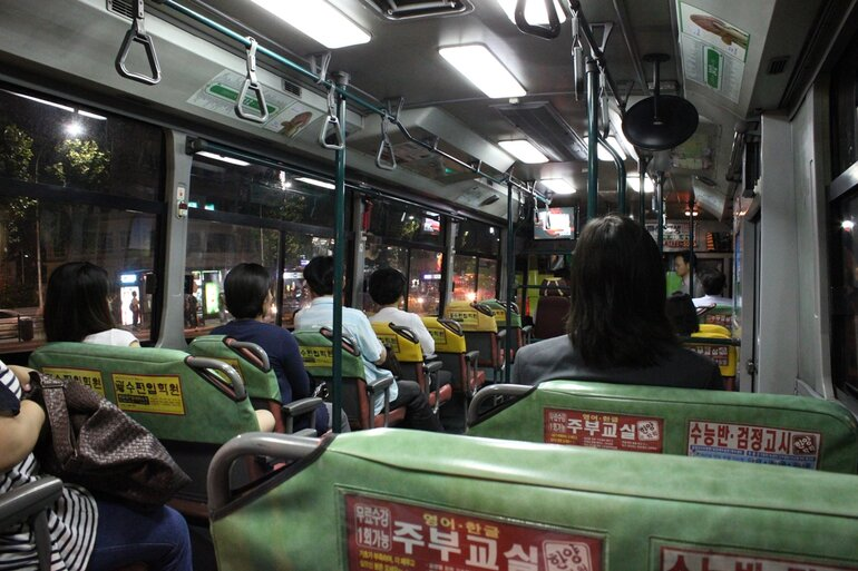 Inside a bus in Seoul, South Korea