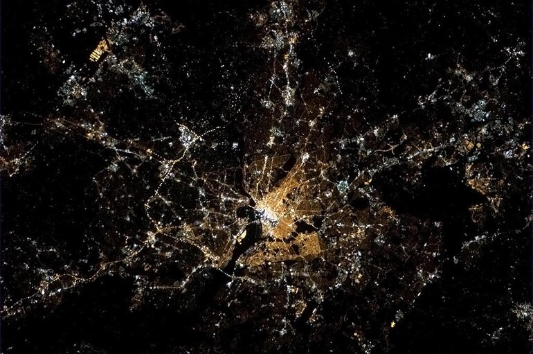 Satellite map of a city at night