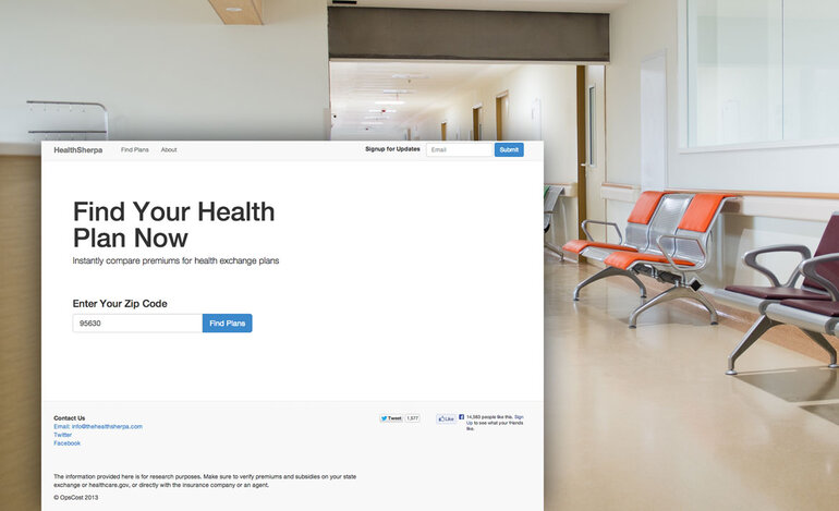 Screenshot from HealthSherpa.com, a website built to allow people to browse health insurance plans without creating an account on Healthcare.gov