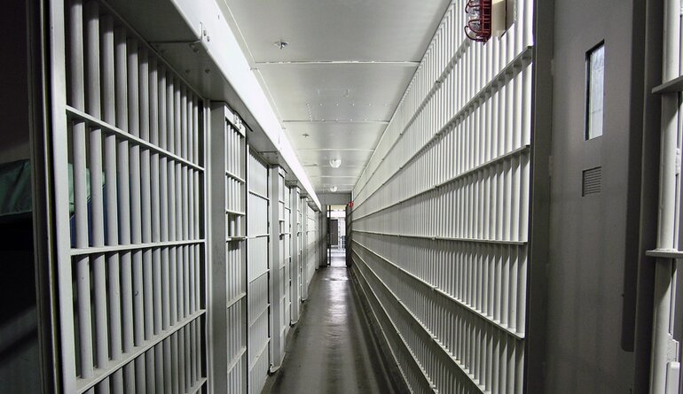 long row of jail cells