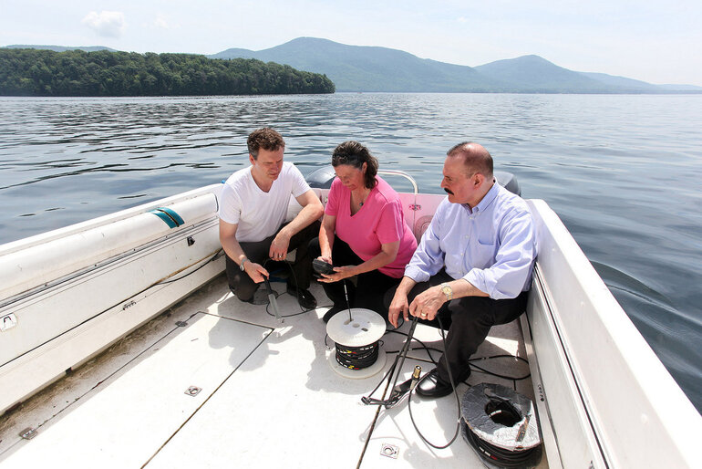 Scouting locations on New York's Lake George for placement of new sensors