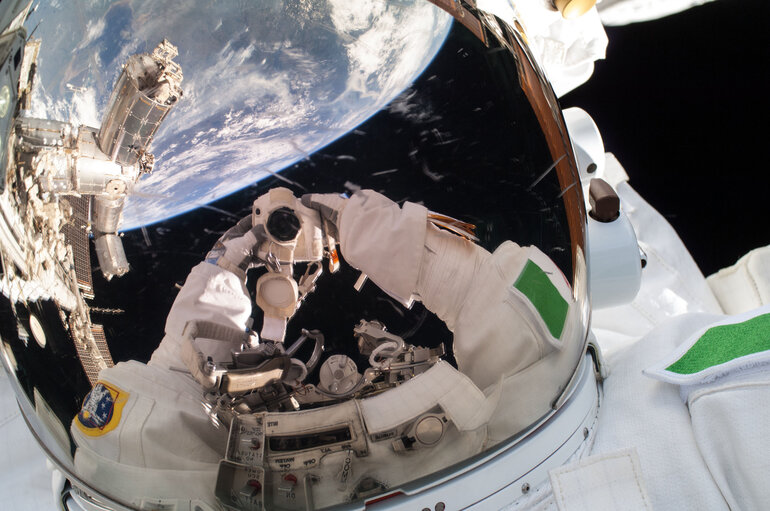 Luca Parmitano self portrait in space