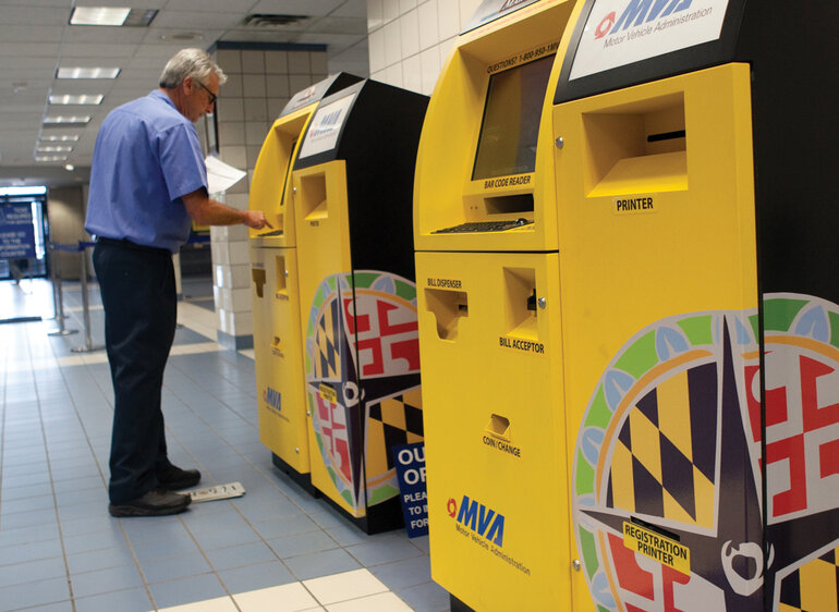 Kiosks located in Maryland Motor Vehicle Administration Offices dispense registration tags.