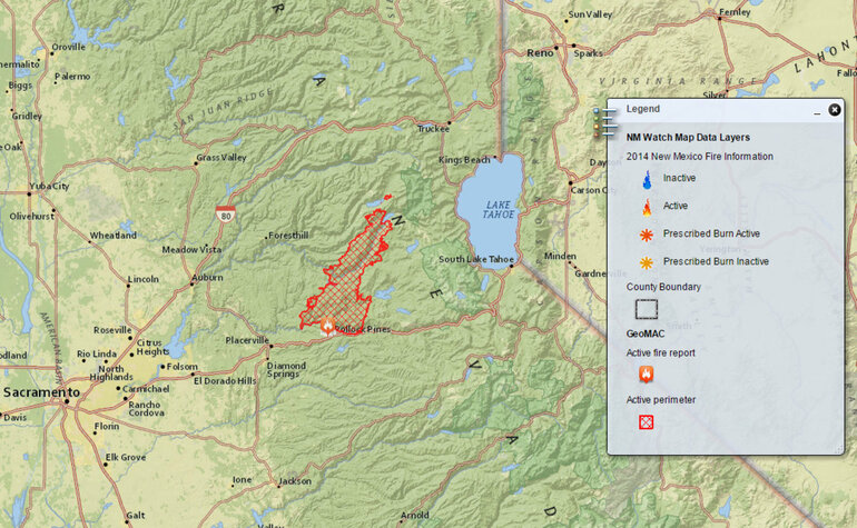 During the Northern California King Fire, a fire mapping tool created ...