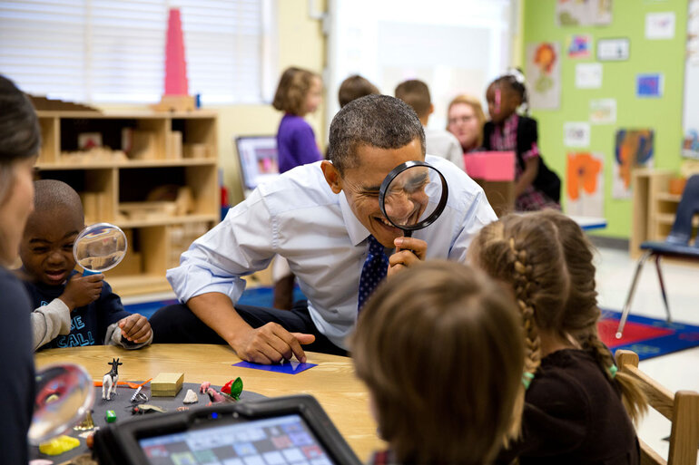 President Obama in a classroom with kids