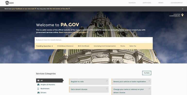 Home page of Pennsylvania website PA.gov