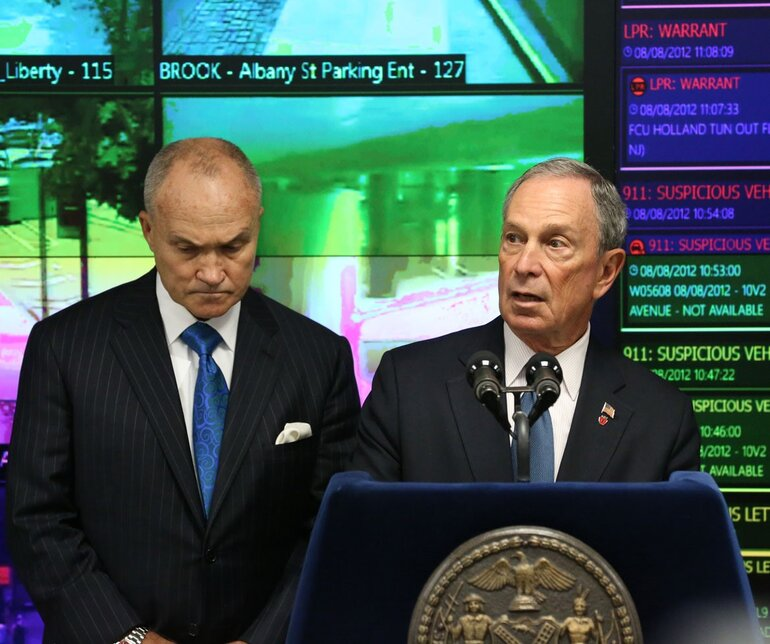 Mayor Michael Bloomberg (right) and NYPD Commissioner Ray Kelly unveil new law enforcement technology
