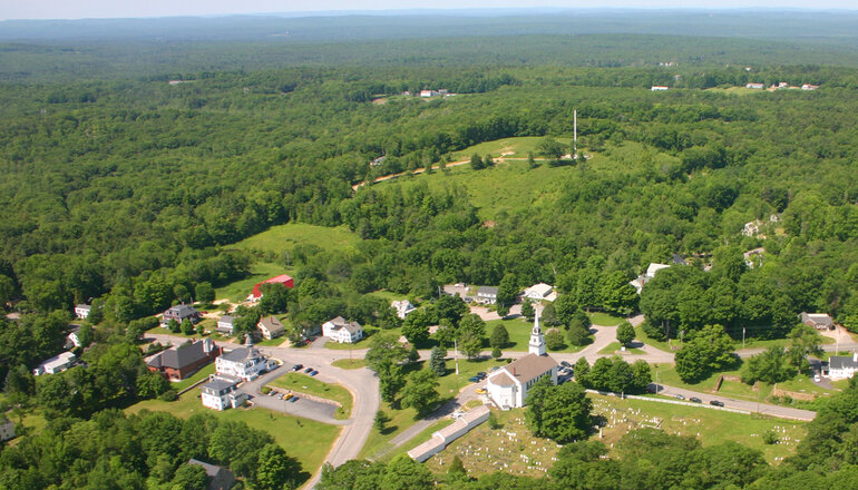 An Aerial view of Rindge, New Hampshire