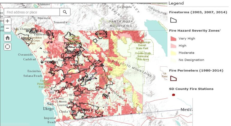 San Diego County wildfire severity map