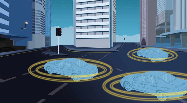 illustration of cars that communicate with each other
