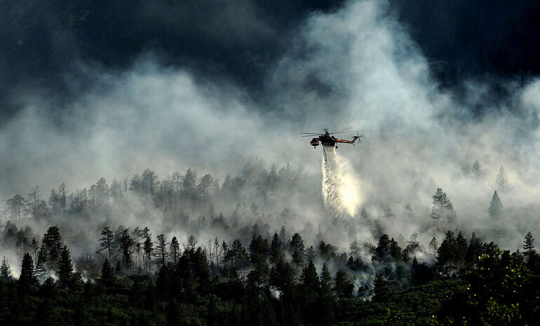 Helicopter over Waldo Canyon, Colo., fire