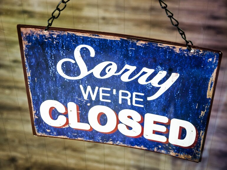Sorry we're closed wooden sign