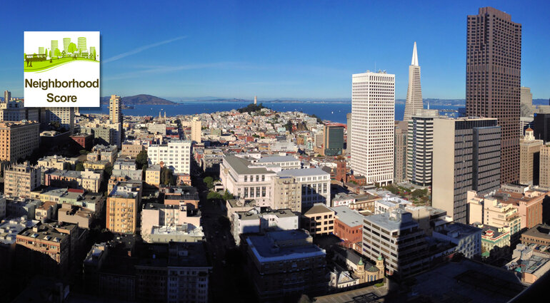 San Francisco skyline with Neighborhood Score app icon