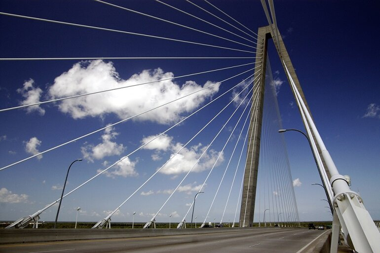 The iconic Arthur Ravenel Jr. Bridge over the Cooper River in Charleston, S.C.