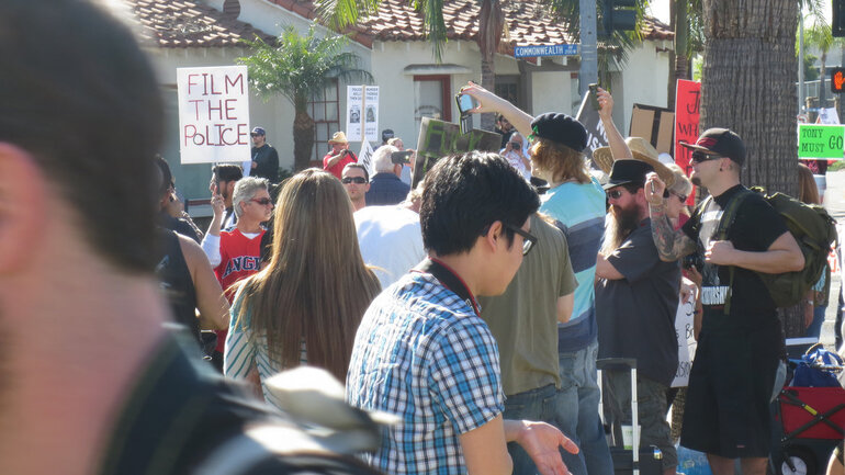 Protest to film police in Calfornia
