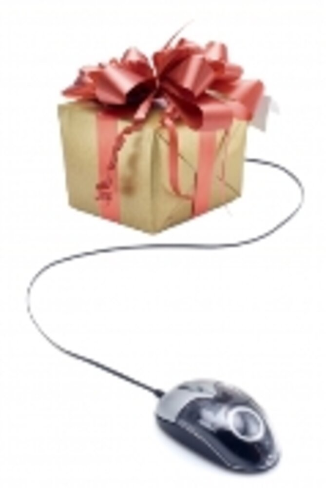 Wrapped present with mouse