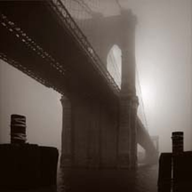 Brooklyn Bridge in fog