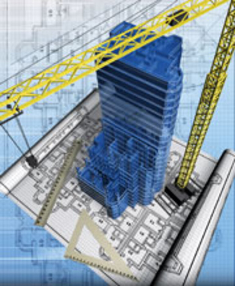 Building with blueprint and crane/Illustration by iStockphoto.com/Yacobchuk