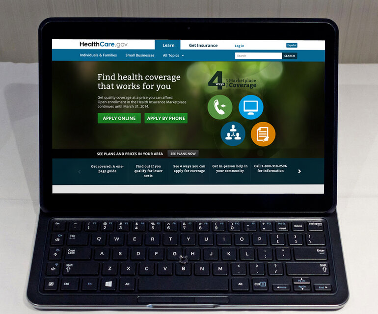 Screenshot of federal website Healthcare.gov on a laptop