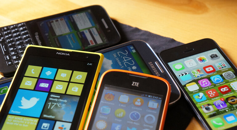A variety of smartphones.