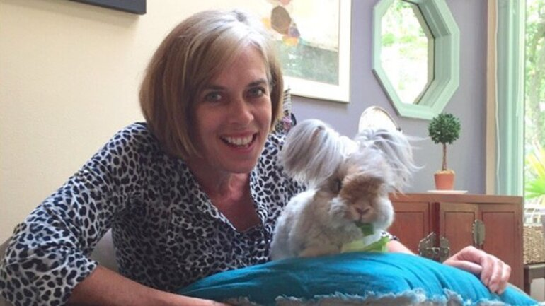 Massachusetts Rep. Katherine Clark with Wally the bunny