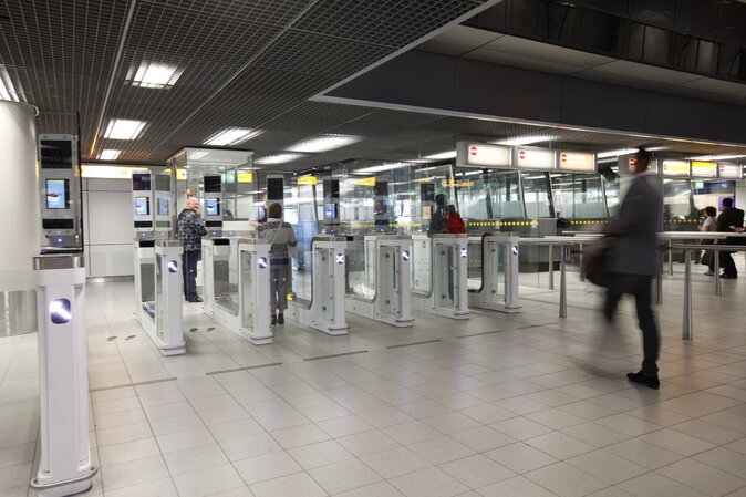 E-gate automated border control system at Airport Schiphol in Amsterdam