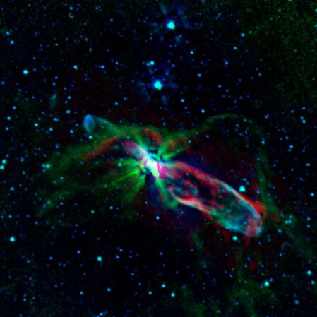 Combined observations from NASA's Spitzer Space Telescope and the newly completed Atacama Large Millimeter/submillimeter Array (ALMA) in Chile have revealed the throes of stellar birth, as never before, in the well-studied object known as HH 46/47