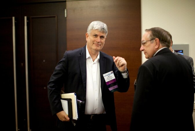 Utah CIO Mark Van Orden talks with Bob Woolley, the state's ‎chief technical architect
