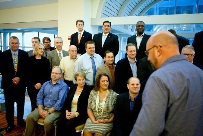 Washington CIO Michael Cockrill (far right) takes his place for the GovTech group shot of state CIOs.