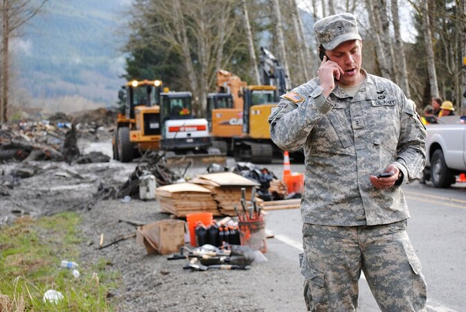 Washington National Guard at the site of the Oso mudslide