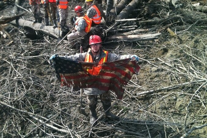 Flag in debris from the Oso landslide