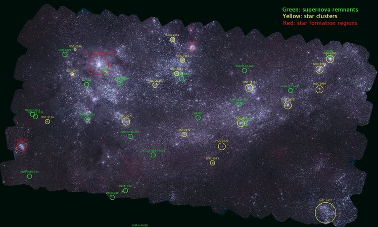annotated version of the Swift Large Magellanic Clouds mosaic