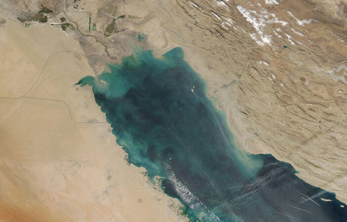 an aerial view of the Persial Gulf