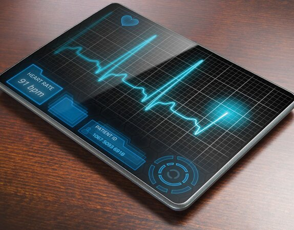 Tablet showing heart rate
