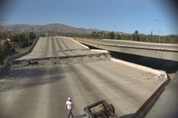 Damaged road, Northridge Earthquake/Photo courtesy of FEMA