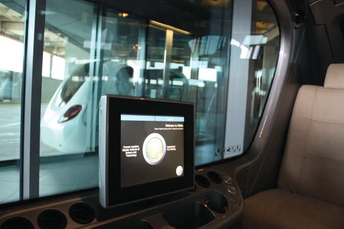 Inside a personal rapid transit vehicle