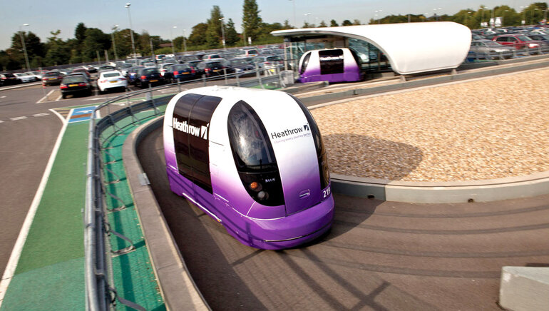 Personal rapid transit vehicle at London's Heathrow Airport