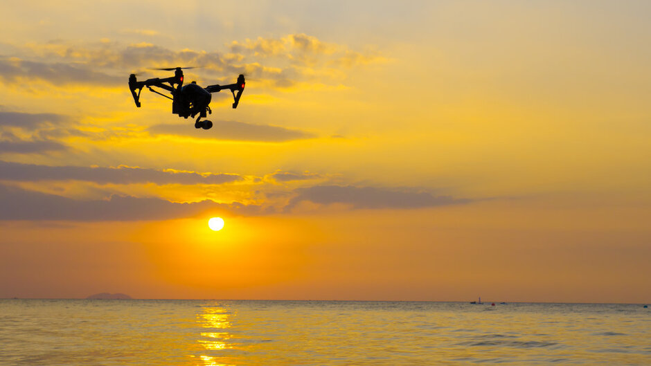drone over the ocean