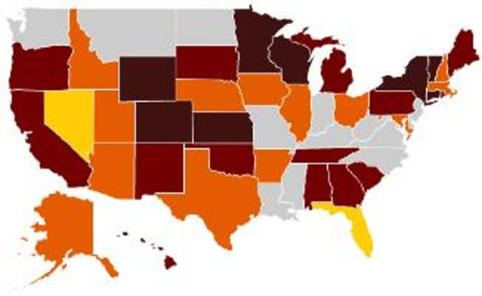 New Governors To Bring Big Turnover Of State CIOs - 2008 us governors map graphic